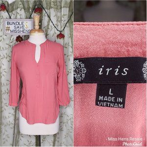 IRIS LIVE CORAL SHEER LIGHT WEIGHT V NECK BLOUSE